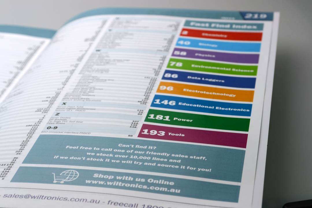 Wiltronics Catalogue 2013 Index